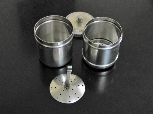 Coffee filter made up of steel, disassembled