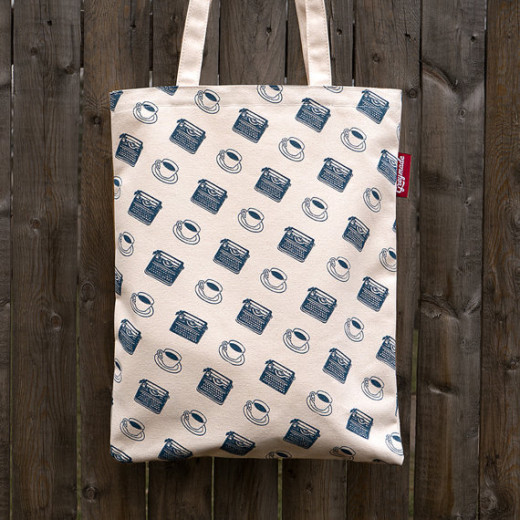 A simple tote bag with coffee and typewriter graphics