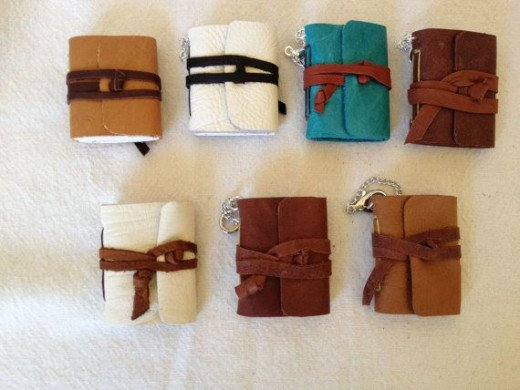 Mini leather journal keychains