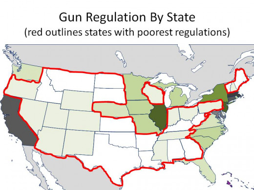 THE DARKER THE GREEN, THE STRONGER THE GUN REGULATIONS with TWO WORST GUN REGULATION RANKING CIRCLED - CHART 11