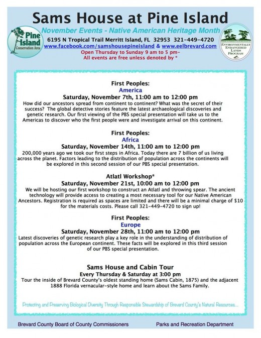 Calendar of events for November 2015