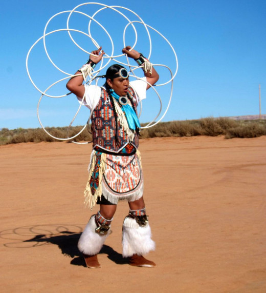 Navajo Practicing for the Hoop Dance Competition