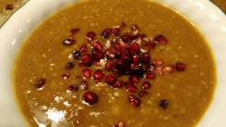 Healthy and Delicious Kabocha, Sweet Potato, and Pomegranate Soup