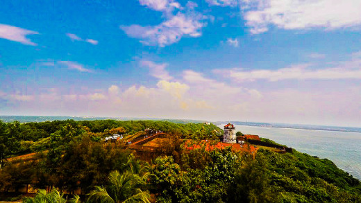 Fort Aguado and Lighthouse as viewed from the top of new Lighthouse Aguada.