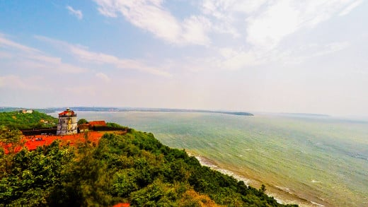 Fort Aguado, Lighthouse and Arabian Sea as viewed from the top of new Lighthouse Aguada.