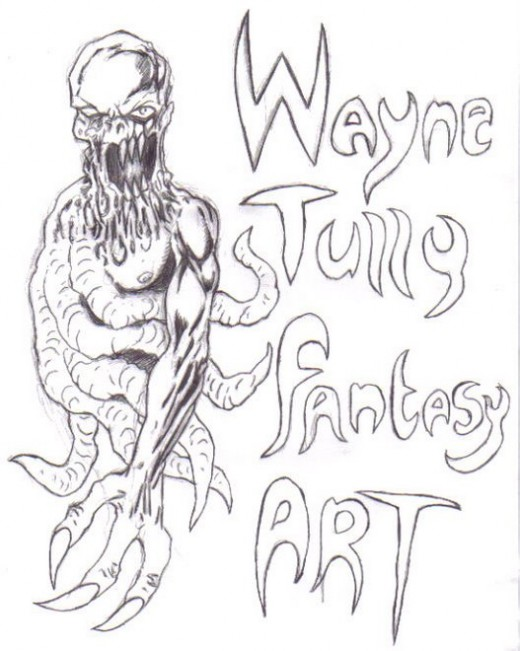 A fantasy demon sketch which would turn out to be my temporary blog header at waynetullyfantasyart.blogspot.com