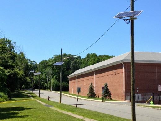 Solar panels attached to a power pole in New Jersey