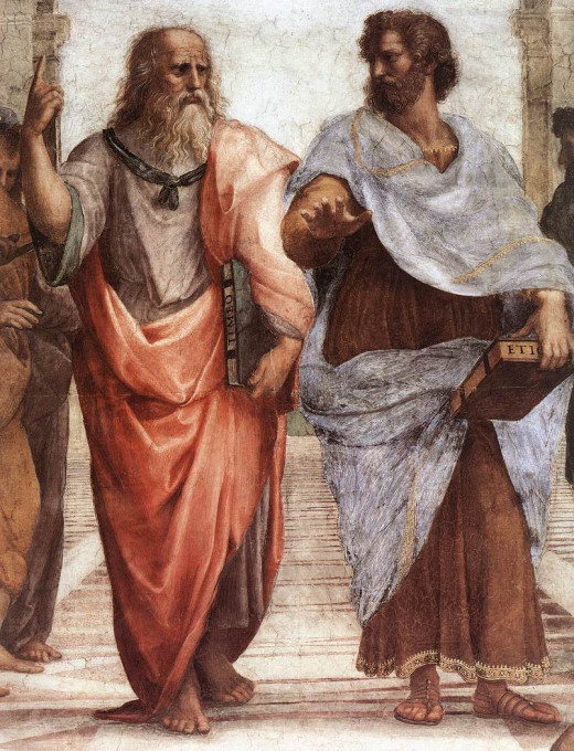 Raphael's School of Athens, showing Plato on the left and Aristotle on the right. Plato points towards the sky, while Aristotle's attention is fixed on the ground.