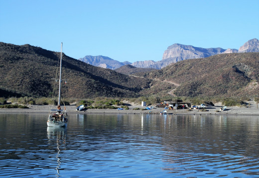 The south shore of San Evaristo, and the road to La Paz in June 2007