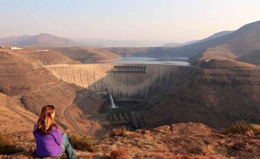 A tourist viewing the magnificient Katse Dam in Lesotho