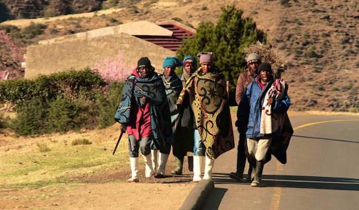 Men wearing the colourful Basotho blanket