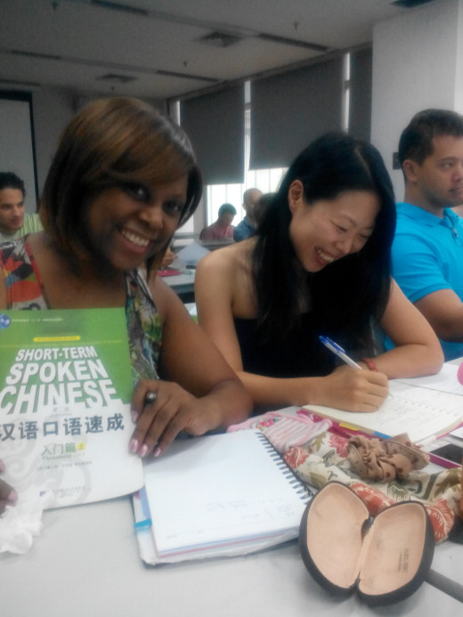 Learning Chinese at Shenzhen University with classmates from Japan and Tahiti