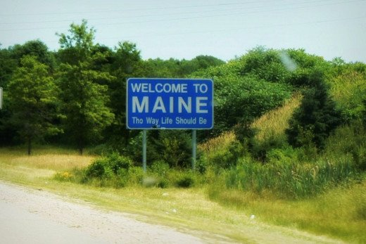 State of Maine sign Judy Ann and I encountered.