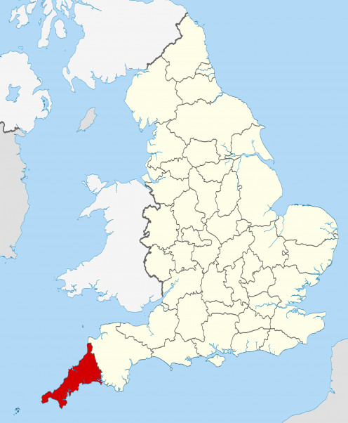 Cornwall (in red) located in south-west Great Britain.