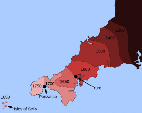 The loss of the Cornish language throughout Cornwall over the years from 1300 to 1750