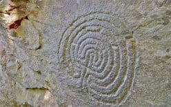 Labyrinth - Celtic rock carving at Rocky Valley, Cornwell.