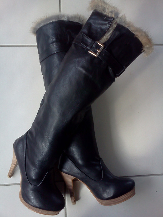 Platform Boots with Cute Fur Tops
