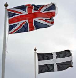 The Union Jack and the Cornwall flag.