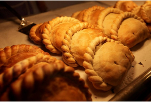 Pastys, a favorite food of Cornwall.  Small pastry pies filled with meat and vegetables.