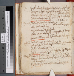 Manuscript of Beunans Meriasek, the Life of St. Meriasek- f.56v.  Middle Cornish Saint's play.