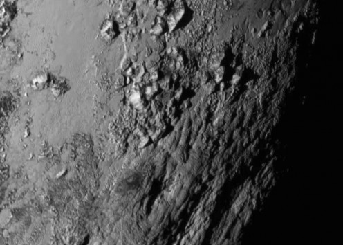 Close-up of mountains on Pluto
