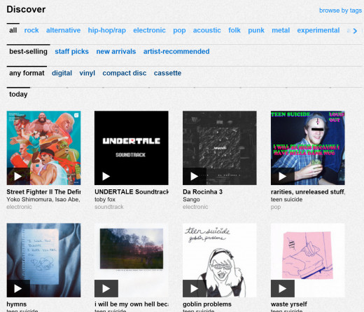 Bandcamp lets you browse by genre for music made by independent artists
