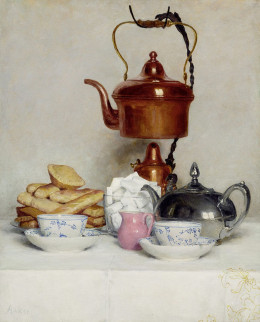 Teeservice, 1910, Oil on Canvas.  This looks so realistic, I thought it was a photo at first.