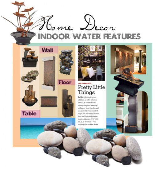 Illustration showing various types of indoor water features, from standalone units to tabletop water fountains and indoor wall-mounted waterfalls.