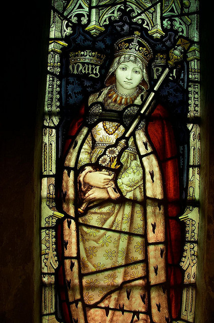 Margaret of Anjou's portrait in a stained-glass window.