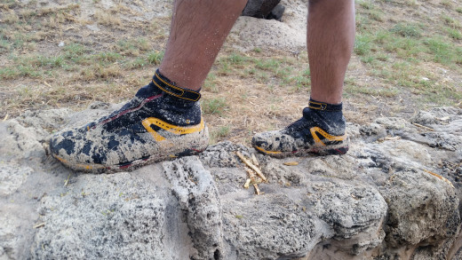 The Resection Trail Shoe got soaked with saltwater several times during shore fishing.