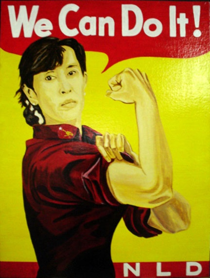 We Can Do It!  Ang San Suu Kyi  Painting by Chadwick and Spector www.chadwickandspector.com