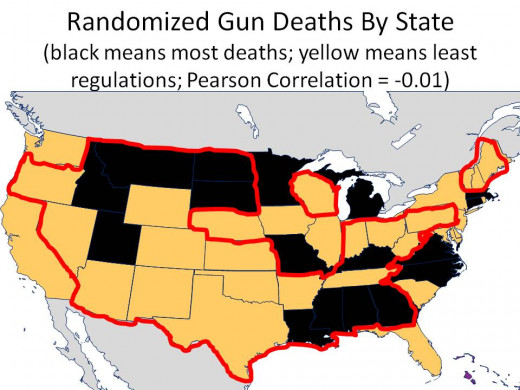 """RANDOMIZED"" DEATHS per 100,000:  ALL INJURIES - HOMICIDES - ALL MECHANISMS - BLACK COLOR ARE STATES WITH TOP 2 DEATH RATE BUCKETS - CHART 15"