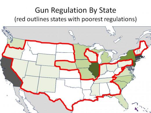 THE DARKER THE GREEN, THE STRONGER THE GUN REGULATIONS with TWO WORST GUN REGULATION RANKING CIRCLED - CHART 23