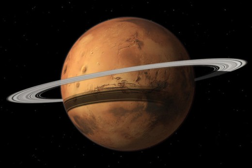 Depiction of Mar's with planetary rings.