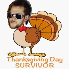 I actually used a paint program to cut and pasted his head onto the turkey's body.