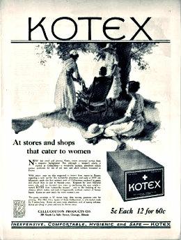 The first ever kotex ad on sanitary napkins circa 1920