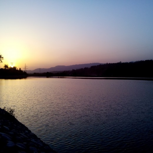 #foothills of himalyas #sirmaur #markanda #river #water #sunset #beautiful