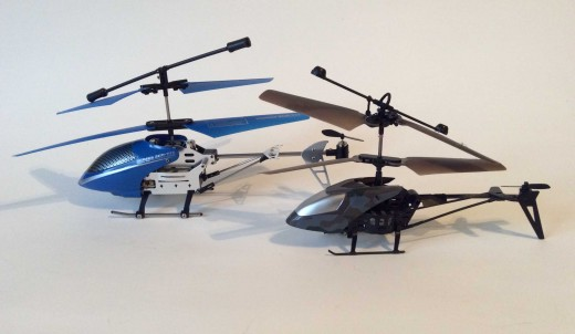 The $20 remote-controlled Series 3CH-777 and a $5 Air Victor compared. The less expensive model lacks a tail motor.