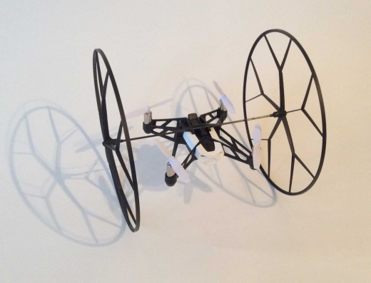Parrot Rolling Spider with wheels / rotor guards attached