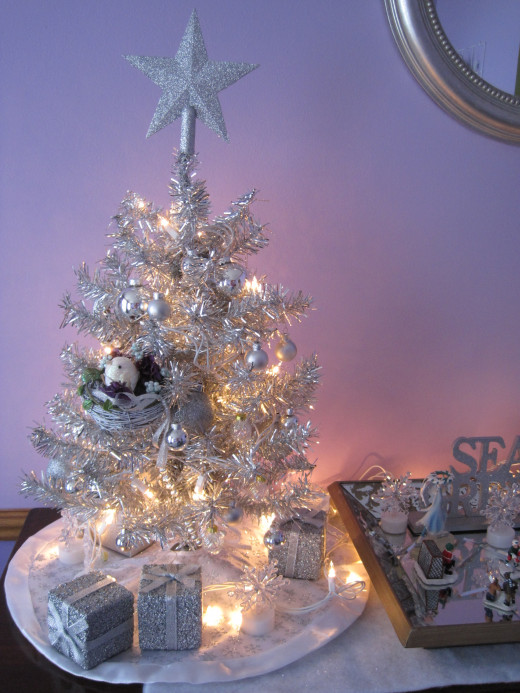 A bright reminder of a silver tree my grandmother put up every Christmas at her house.