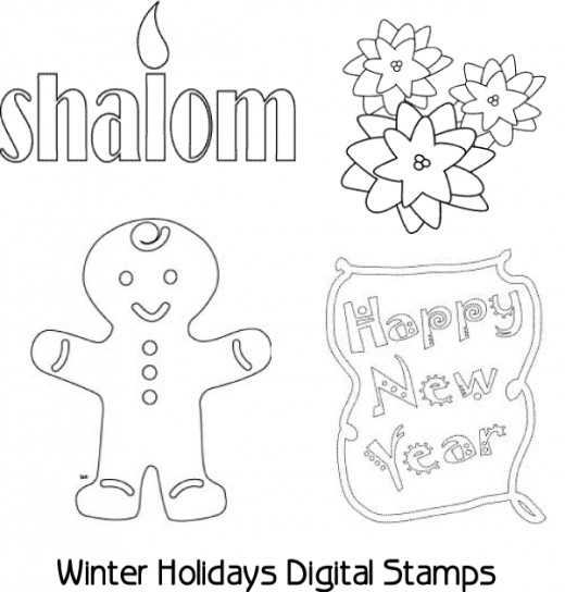 Digital Stamps for December and January