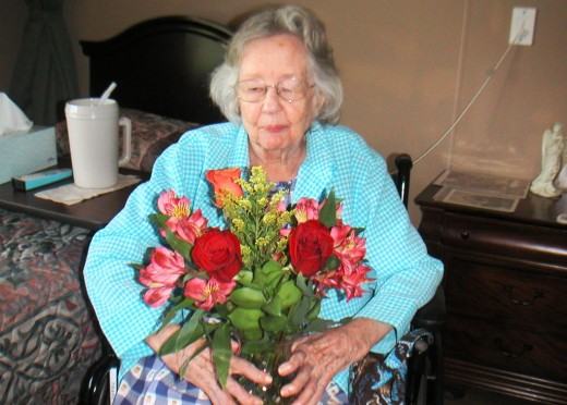 Getting fresh flowers lifts the spirit of residents.