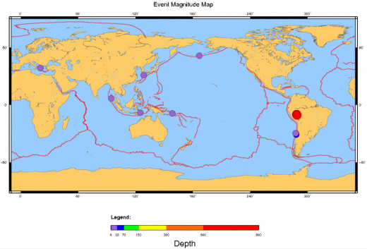 Magnitude 6.4 or greater earthquakes, worldwide for November 2015.