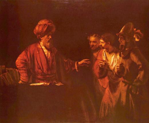 Cornelius instructing his servants to send for Peter