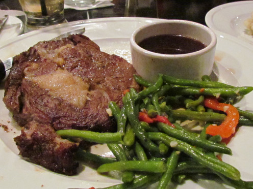 There was a delicious prime rib special with au juice and mixed vegetables,