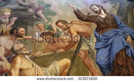 LJUBLJANA, SLOVENIA - JUNE 30: Jesus Miracles - Raising Lazarus, fresco in the St Nicholas Cathedral in the capital city of Ljubljana, Slovenia