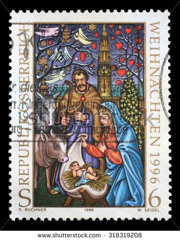 AUSTRIA - CIRCA 1996: Christmas stamp printed by Austria, shows Birth of Jesus, circa 1996