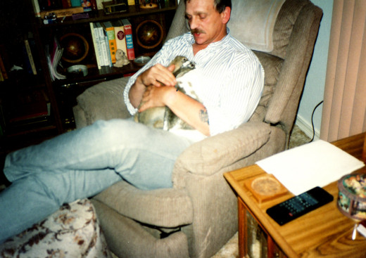 Dad with Lunchbox and Snackpack (my rabbits, they were named Merry and Pippin after Merriwhether and Pippin from the Lord of the Rings trilogy, but my dad gave them different names)