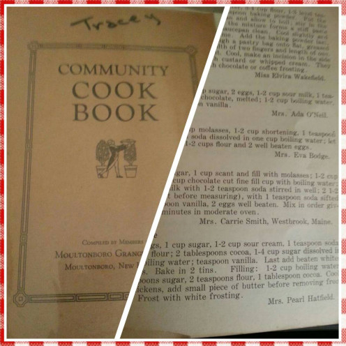 "Community style Cookbook from my own collection... Recipe for ""Widow Cake"" by Pearl Hatfield is my Grandmother"