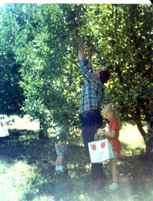 picking apples in Mondamin, Nebraska